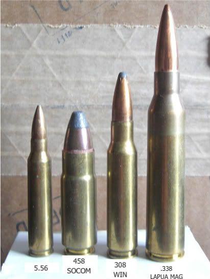 L to R 5.56, .458 SOCOM, .308 Win, .338 Lapua Magnum.