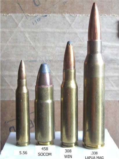 L to R 5.56, .458 SOCOM, .308 Win, .338 Lapua Magnum. Imagine a .338 Lapua Magnum hitting you..