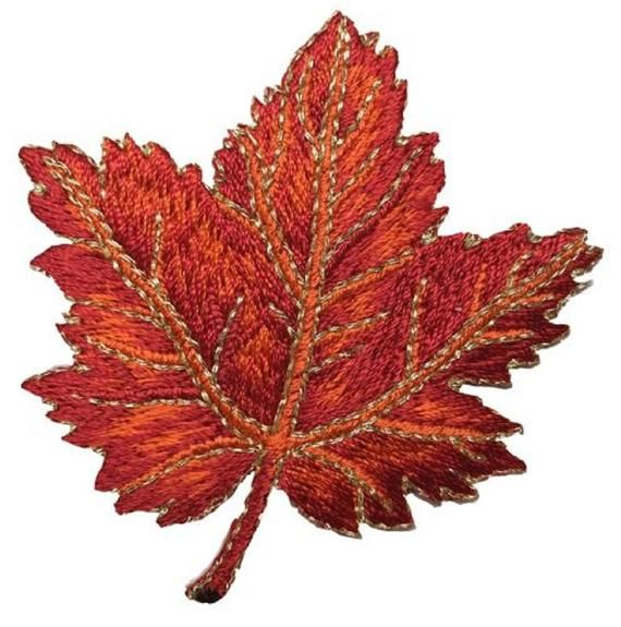 3 Red Leaf embroidery Fall Thanksgiving Leaves
