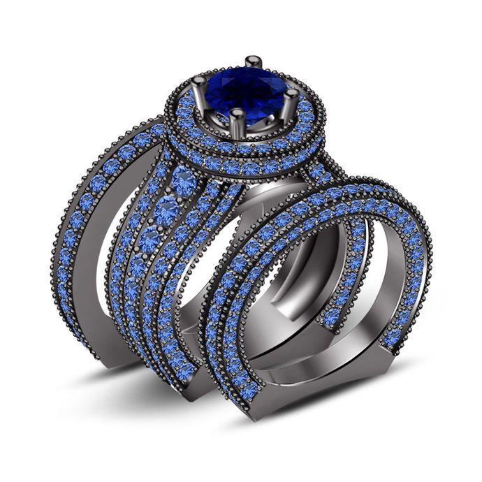 3 Pcs Engagement Ring Wedding Bridal Set 6.50 Ct Sapphire 14k Black Gold by Vorra, $600.99 USD
