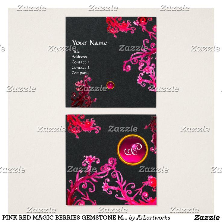 PINK RED MAGIC BERRIES GEMSTONE MONOGRAM Black Square Business Card #fashion #beauty #jewelry #jewel #swirls #plants