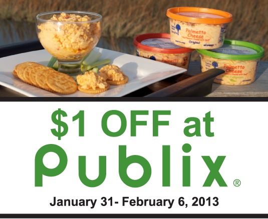 Palmetto Cheese – The Pimento Cheese with Soul! is on sale at all Publix locations for $1.00 Off starting January 31st. The sale will continue until February 6, 2013.