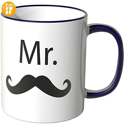 Wandkings® Tasse, Schriftzug: Mr. mit einem Schnurrbart - LILA - Tassen mit Spruch | Lustige Kaffeebecher (*Partner-Link)