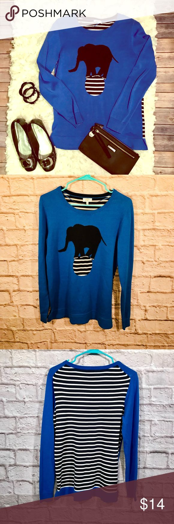 "crown & ivy cute as pie sweater. EUC. Quirky and cute circus elephant sweater with solid color front and black and white stripes on back Approximate measurements are p2p 19""; Length is 26"" and sleeve is 24"" 💯 cotton.  Make an offer!!   All items are from a clean, smoke free home and are stored in pet free environment. 👍  Sorry.  👎 No trades 👎 No modeling 👎 No low ball offers  Please and thank you!!!  Carol@RedheadThreads crown & ivy Sweaters Crew & Scoop Necks"