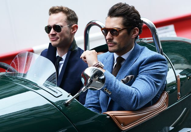 In my fake life, these guys were photographed leaving the scene of our Handsome Man drag race. It happens once a year in Italy, typically the same week as Pitti Uomo. There's about 50 of us in our little gang. All rich. All sports car collectors. All very handsome.