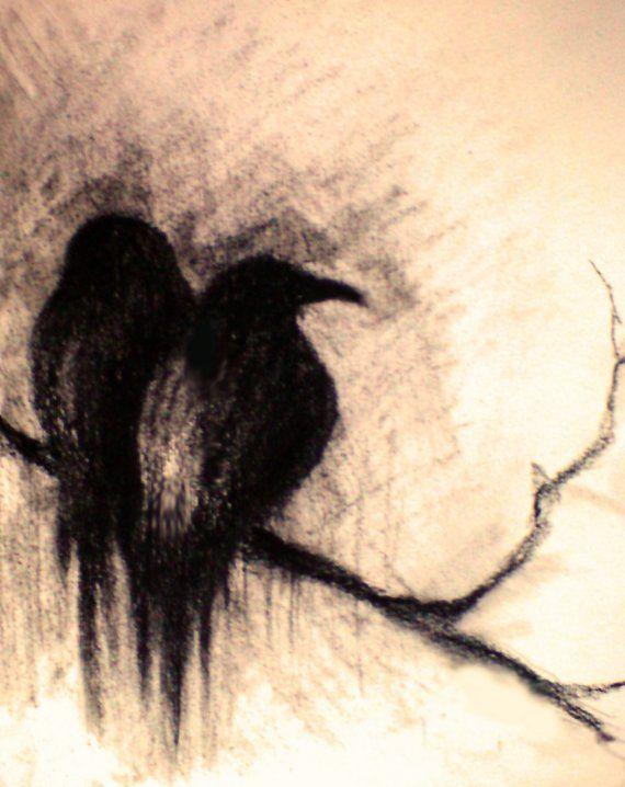 Soulmates 2 - original charcoal drawing , halloween art