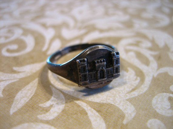 Vintage Sterling Silver Us Army Engineer Castle Insignia