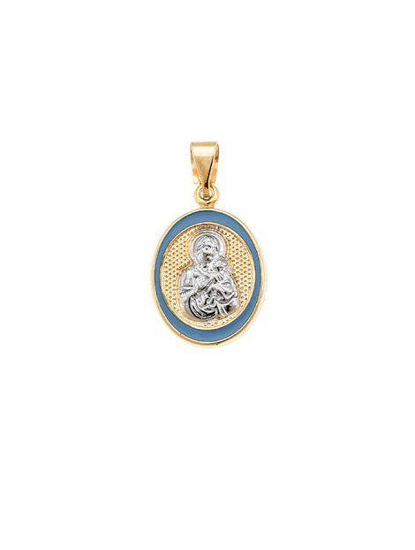 Φυλακτό Παναγίτσα 14Κ με Σμάλτο Αναφορά 011017 Μενταγιόν Παναγίτσα από Χρυσό Κ14 σε κίτρινο χρώμα και διακοσμημένο με γαλάζιο σμάλτο και με τη μορφή της Παναγίας από Χρυσό Κ14 σε λευκό χρώμα.