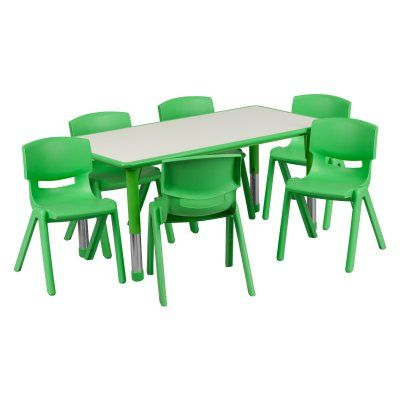 Flash Furniture 23.63W x 47.25L in. Adjustable Plastic Activity Table with 6 Chairs Green / Gray - YU-YCY-060-0036-RECT-TBL-GREEN-GG
