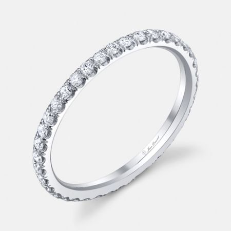 a classic wedding ring design angelina is set with approx 050 carats of colorless - Engagement Rings Wedding Rings