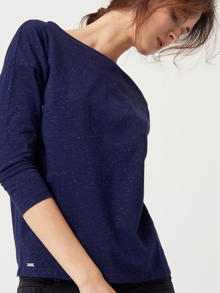 Gładka bluzka z błyszczącą nitką, MOHITO, QL339-95X