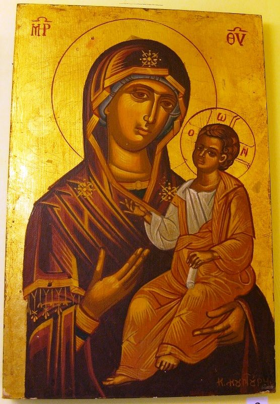 Agiography of Virgin and Christ  style:tempera with leaves of gold