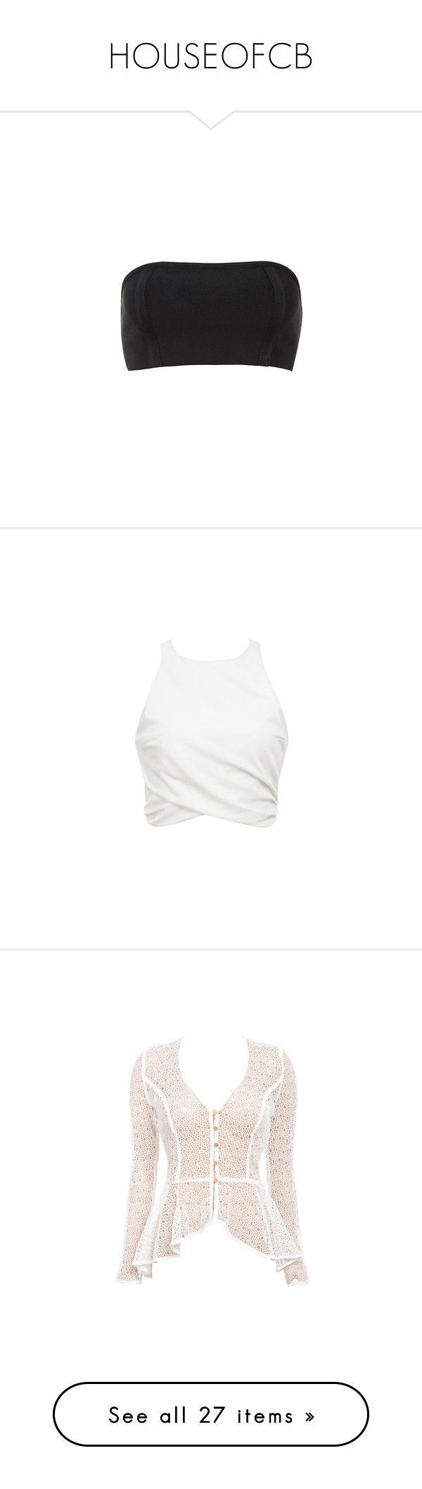 """""""HOUSEOFCB"""" by roexstylez89 ❤ liked on Polyvore featuring tops, stretch top, stretchy tops, bandage top, gold bandeau top, bandeau tops, white crop top, white top, white drape top and sleeveless drapey top"""