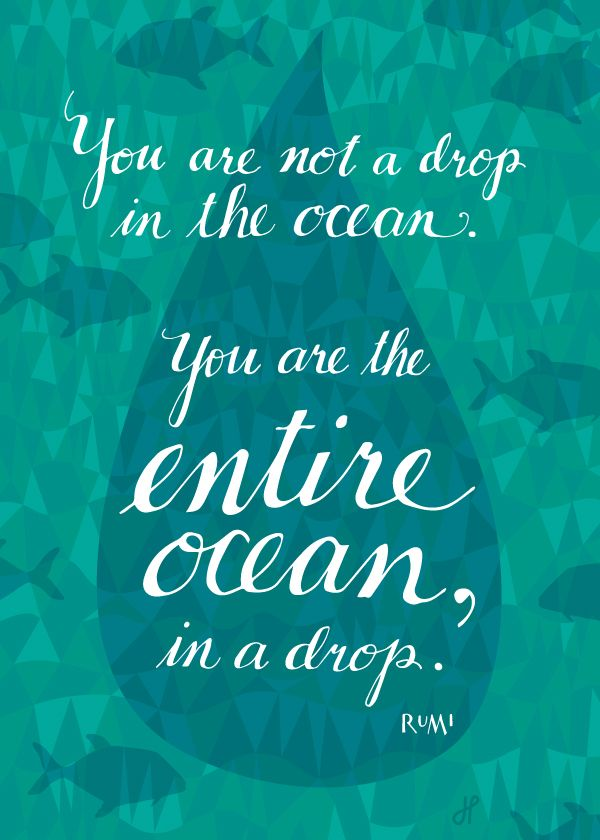 """""""you are not a drop in the ocean...you are the entire ocean in a drop"""" - rumi"""
