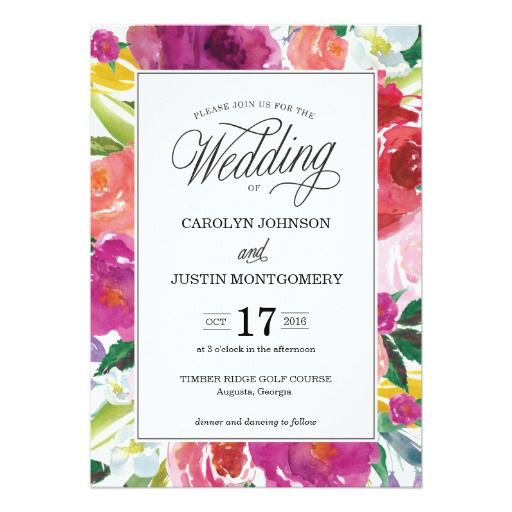 Modern Floral Watercolor Wedding Invitation