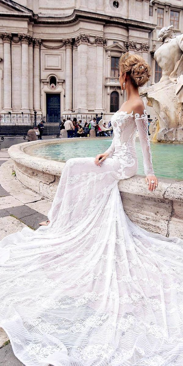 The neckline, the lace, the sleeves, everything! - Jx  Romantic Off The Shoulder Wedding Dresses ❤ See more: http://www.weddingforward.com/off-the-shoulder-wedding-dresses/ #weddings