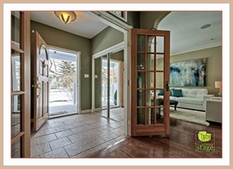 After professional home staging.  We loved the tiled floor in this entrance way.