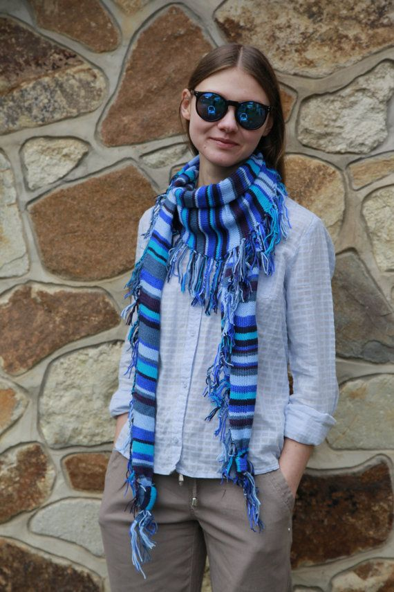 Beautiful striped scarf. Women's knitted scarf. от OfKindHands
