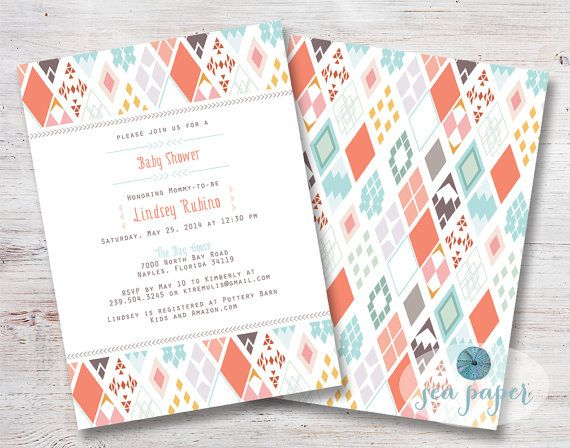 Aztec Baby Shower Printable Invite in Coral and Turquoise for a girl