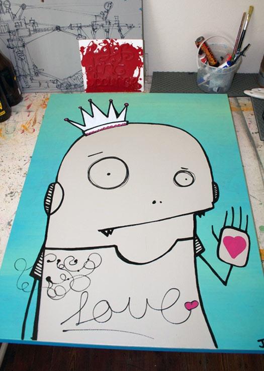 Love me..  canvas,pva