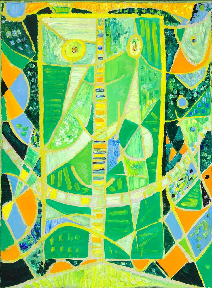 """Egill Jacobsen: """"Grøn maske"""". Sign. på bagsiden E.J. 58. Olie på lærred. 130 x 97."""