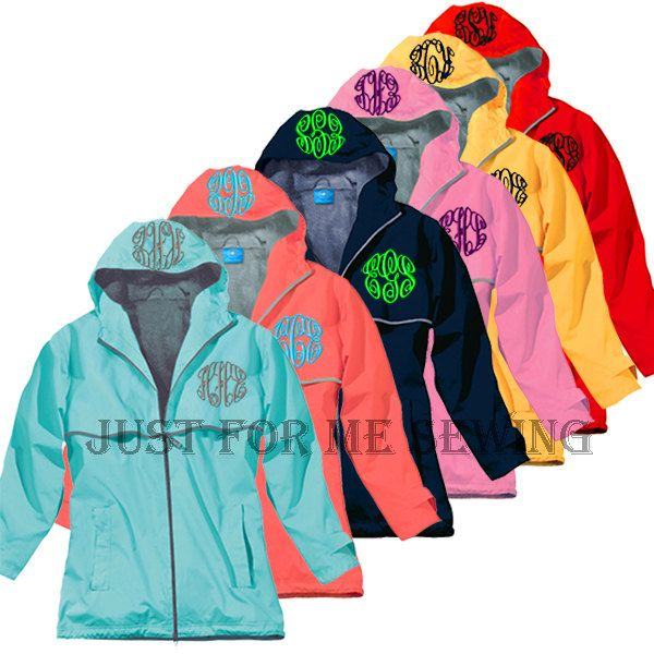 Monogrammed Rain Jacket Personalized Bridesmaids Gifts-Adult Sizes. $59.99, via Etsy. Can't decide if this is just too much...or cute!