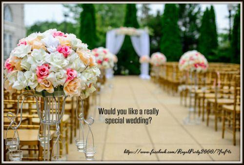 https://www.facebook.com/RoyalParty2000/?fref=ts Ha az esküvődre készülsz, feltétlenül látogass el hozzánk, mert minden lépésedben segítségedre lehetünk. Gyere, és megtaláljuk számodra a legjobb zenekart, házigazdát, fotóst, videóst, és mindezek mellett stílusos dekorációt biztosítunk az esküvődre (a mulatság helyszínére, vőlegényi ház, menyasszonyi ház, csokrok, autódíszítés), nehéz füst a nyitótánchoz, tüzijáték és minden ami szükséges lehet. Számíthatsz ránk, és 100%-ban elégedett leszel…