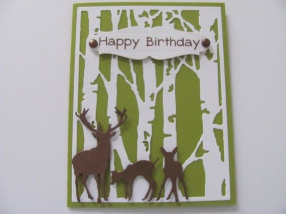 Birthday Deer Card Masculine Card Happy Birthday Card Deer Etsy Birthday Cards Happy Birthday Cards Masculine Cards