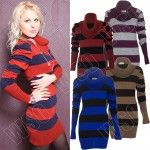 Long Cowl Neck Striped Knitted Jumper Dress