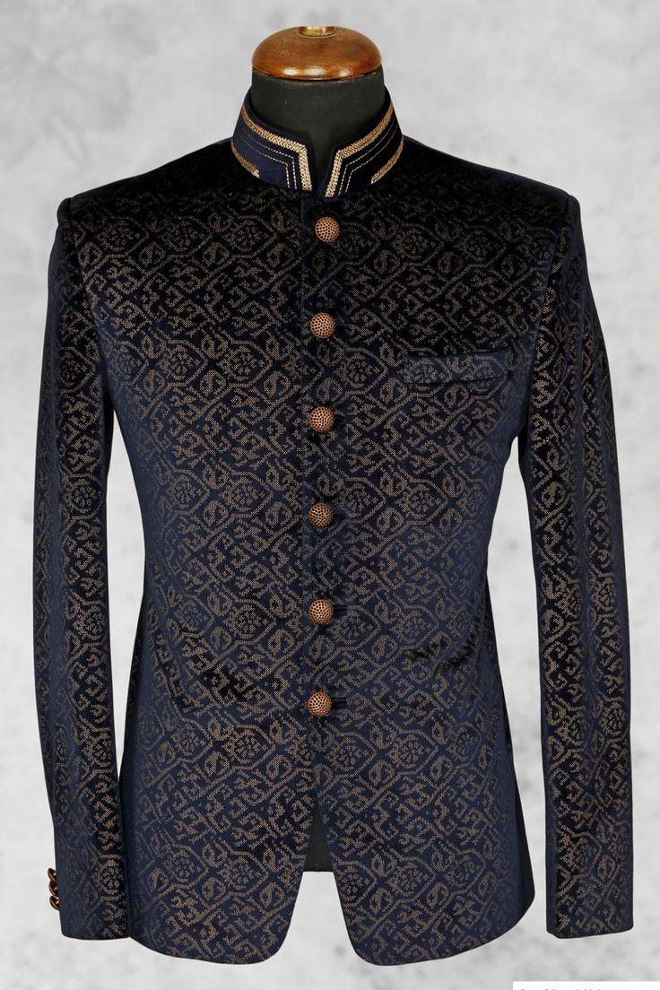 #Black presentable #velvet suit with bandhgala collar-ST509