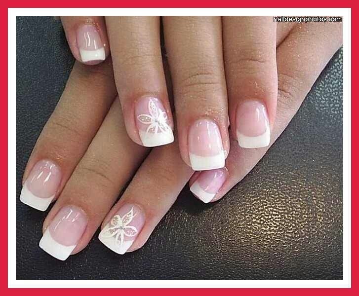 simple french tip nails with