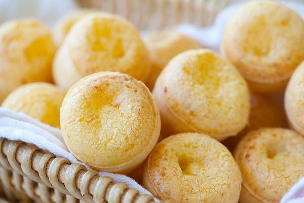 We have had these at least 10 times but I have to introduce you to them they are so addictive! Brazilian Cheese Bread (Pão de Queijo)