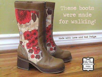 Mod Podge Boots: Fall Overhaul, Mod Podge, Podge Boots, Modpodge, Craft Ideas, Diy, Cathie Filian, Crafts