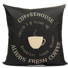 Black Coffee Cup Pattern Home Office Car Cotton Linen Pillow Case