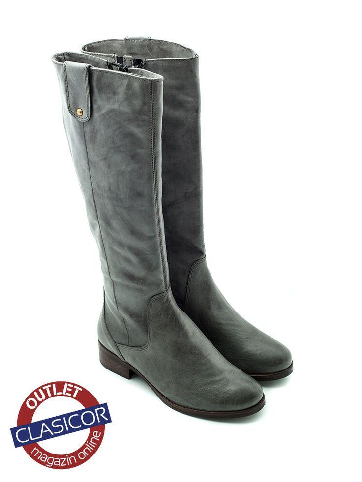 Cizme inalte din piele naturala, pentru femei – 247 gri | Pantofi piele online / outlet incaltaminte piele | Clasicor