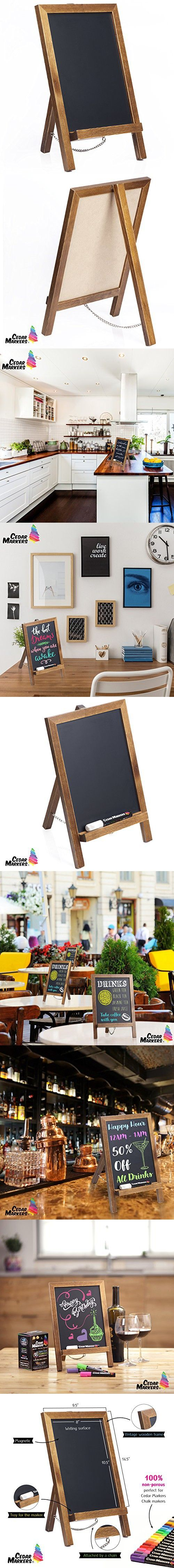 Cedar Markers 14x9.5 Unfinished Wood Framed Chalkboard. Mini Chalkboard Signs with Chain. Erase Slate Chalk Board Perfect for Chalk Markers and Vintage Wedding and Kitchen Decoration. (14x9.5)
