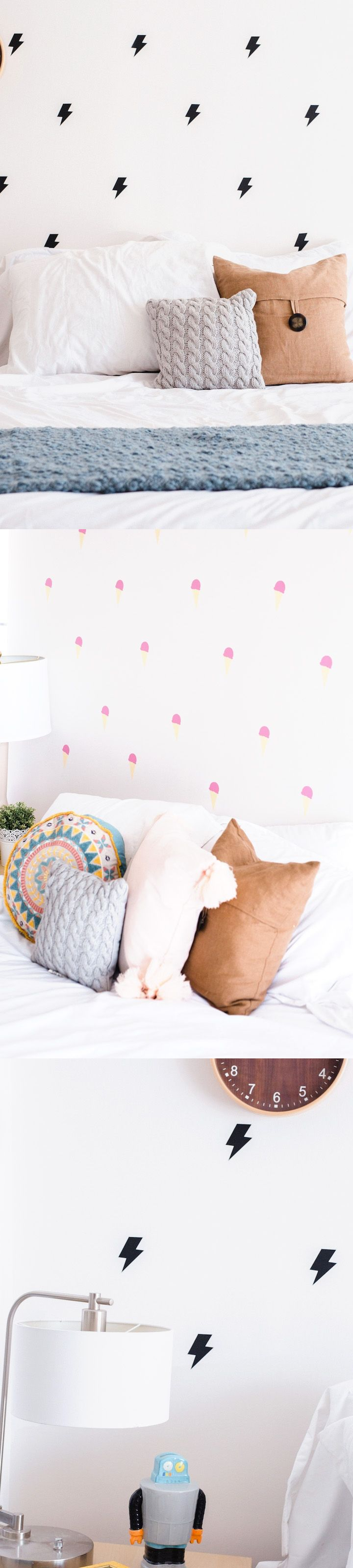 $14.99 - These adorable wall stickers are perfect for updating your little ones room. Cute as can be pink ice cream cones or gold dot for her, or awesome cactus or lightening stickers for him. Style any way you like - a cute border, horizontal rows, or evenly spaced across every wall in the room!