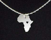 Africa Necklace - Sterling Silver Personalized Continent Love Heart