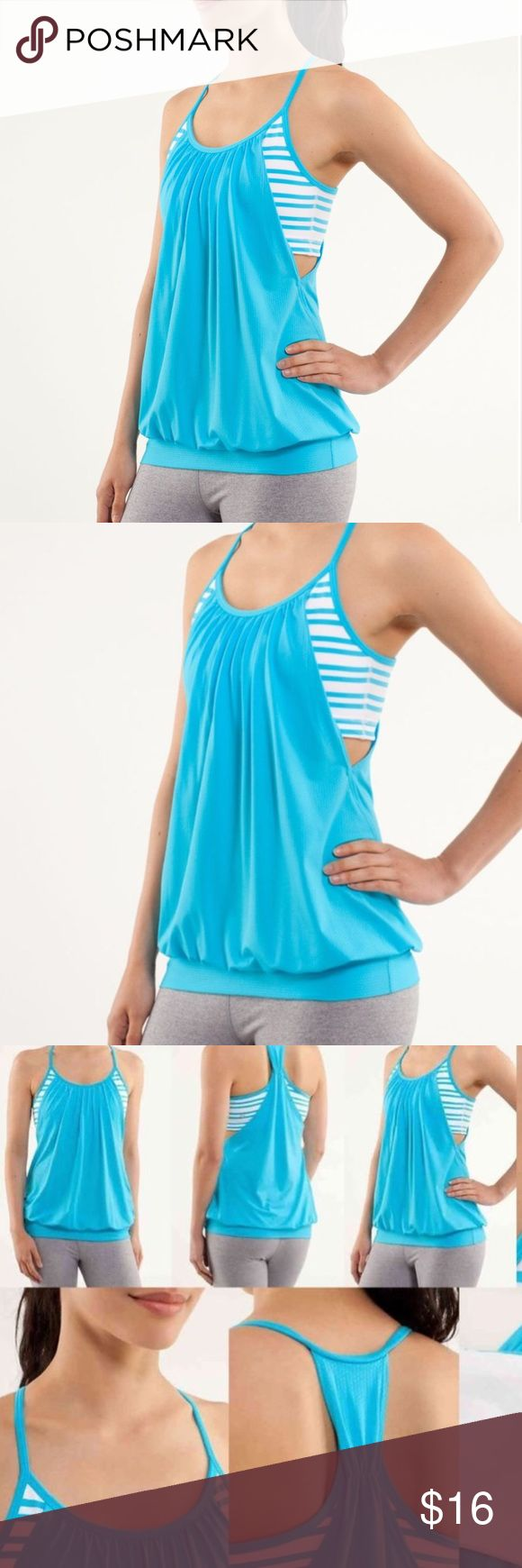 Lululemon No Limits Tank - Twin Stripe Spry Blue 4 This tank is in general good condition and is preloved, and has a faint stain on the front, shown in the last picture. I've never tried to get the stain out. Lululemon No Limits Tank Spry Blue / Twin Stripe Spry Blue. With built-in Flow Y bra/ no cups. Key features: mesh panels placed in your high-sweat zones help you stay cool and dry breathable Circle Mesh fabric is moisture-wicking the wide band around the hips keeps the tank in place…