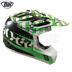2014 Thh Tx12 Hazard Motocross Helmet - Black Green - 2014 Thh Motocross Helmets - 2013 Motocross Gear - by Thh Helmets