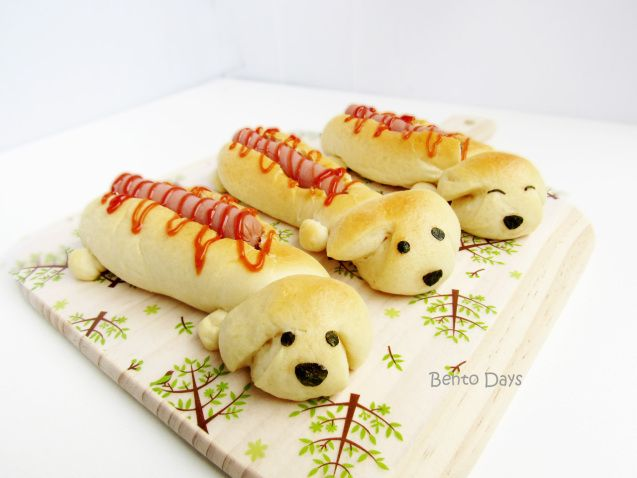 Sausage dog hot dog bread buns bento