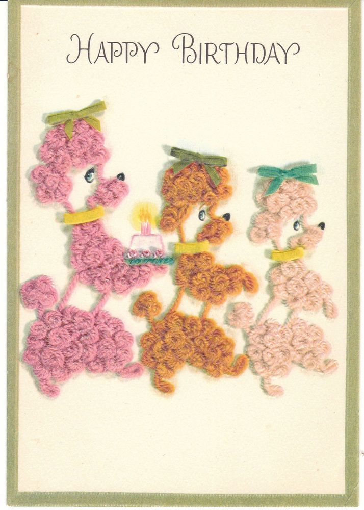173 best vintage greetings cards images on pinterest vintage cards vintage birthday card poodle dogs and cake mid century hallmark embossed bookmarktalkfo Gallery