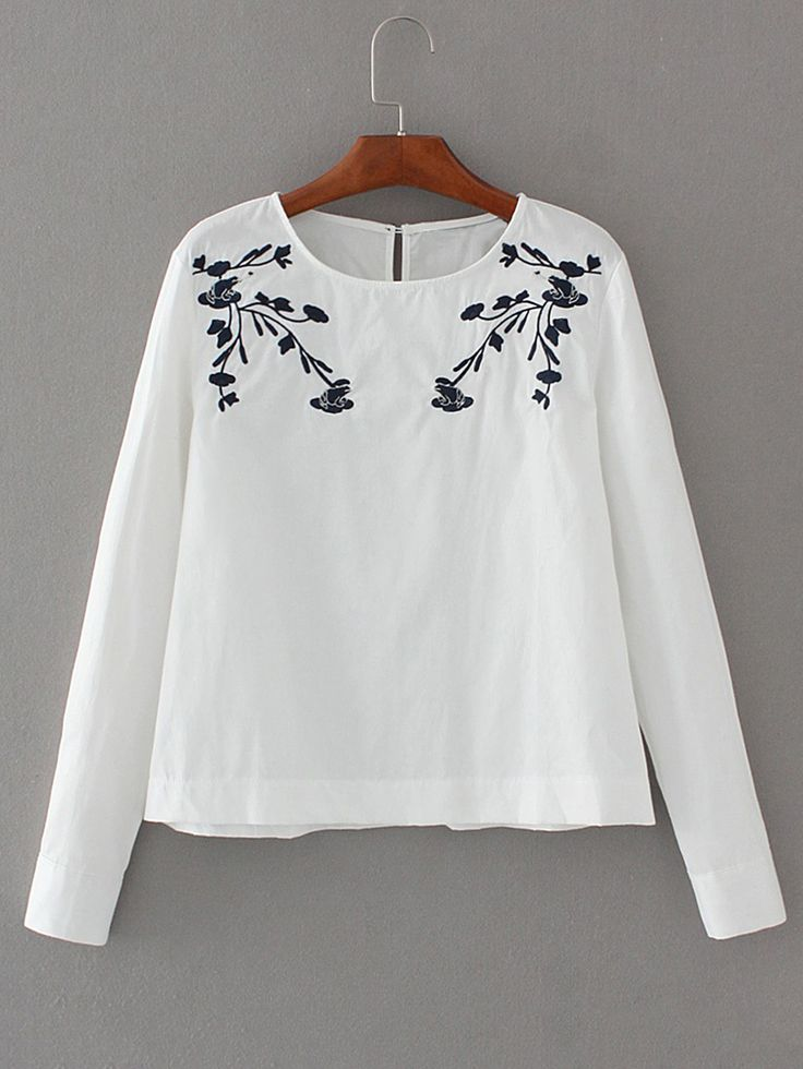 Shop Embroidery Keyhole Back Blouse online. SheIn offers Embroidery Keyhole  Back Blouse & more to