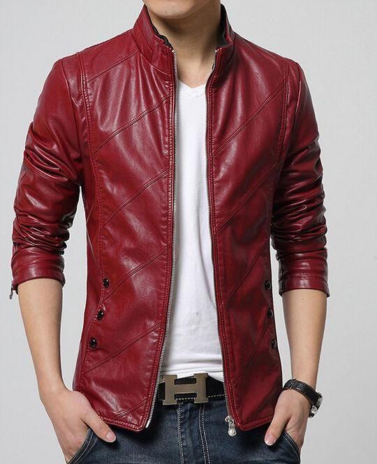 2016 Fashion Men's Leather Motorcycle Jacket Slim Washed Leather Jacket Coat M22