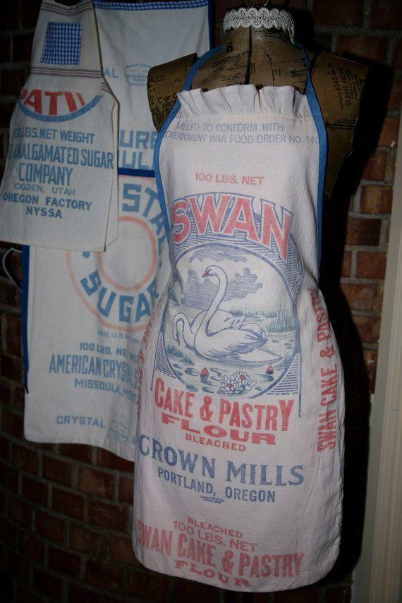 Vintage Flour Sack Apron Swan Design By Redezinedbyrebecca