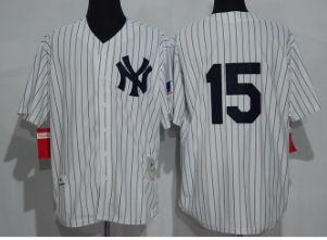 New York Yankees #15 Thurman Munson White Strips Throwback Jerseys