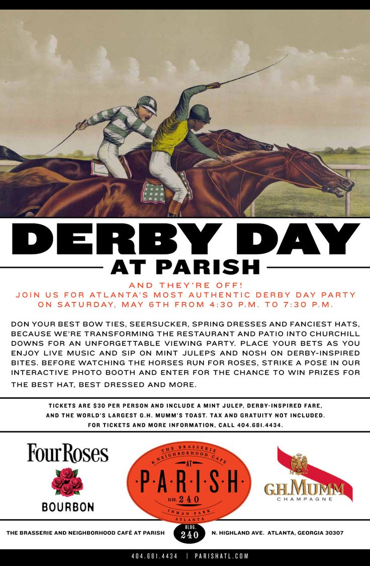 Luxetips Events! Parish Restaurant In Inman Park to Host Kentucky Derby Day Viewing Party: May 6