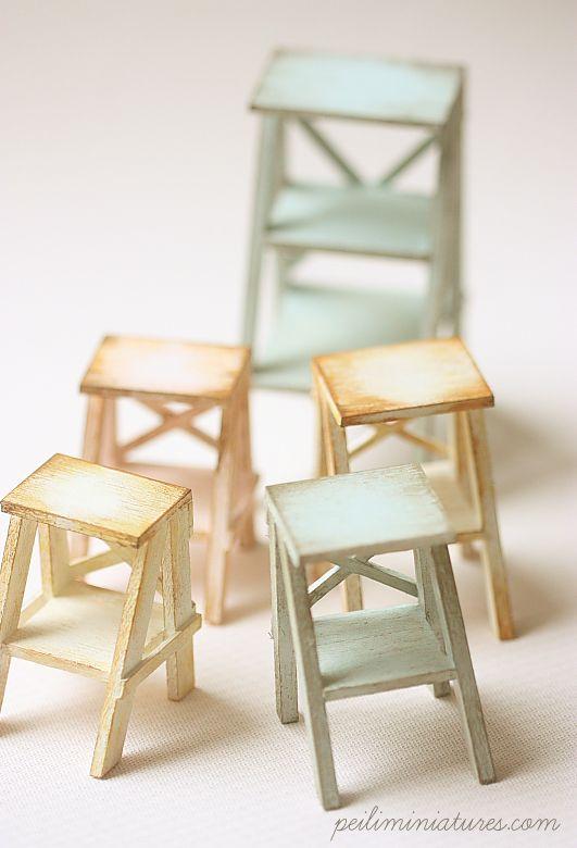 Dollhouse Miniatures, Miniature Food Jewelry, Craft Classes Dollhouse  Miniature Ladders