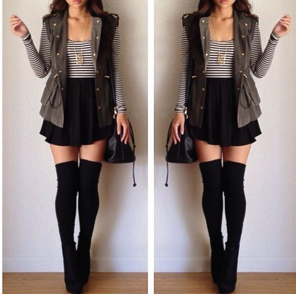 Love the knee high tights.