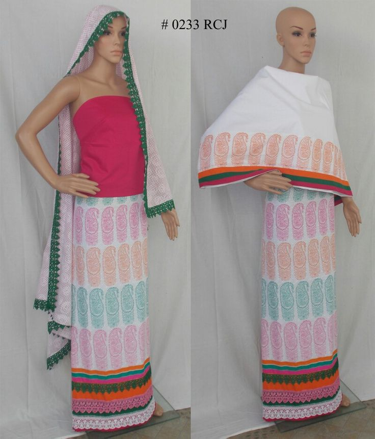 RCJ - White dobby fabric with Paisley print all over. Plain Pardi with contrast col blouse pc and Cotton Brasso Dupatta.